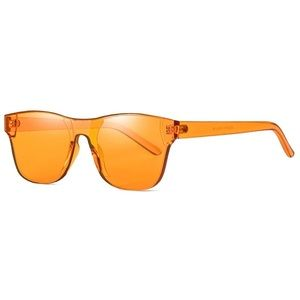 Rimless Wayfarer Sunglasses Retro Orange Classic